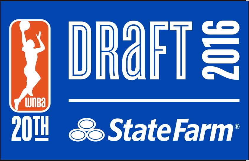 WNBA Draft Logo Primary Dark Logo (2016) - 2016 WNBA Draft Logo on Blue SportsLogos.Net