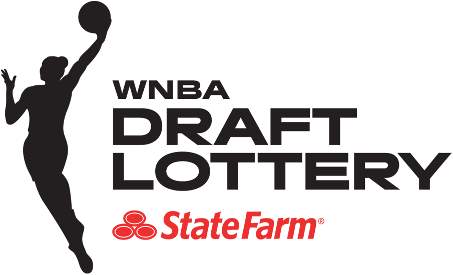 WNBA Draft Logo Event Logo (2019-Pres) - The WNBA Draft Lottery logo follows the template in use by the WNBA since 2019, which places the WNBA league logo silhouette in black to the left of WNBA DRAFT LOTTERY to the right, also in black. SportsLogos.Net