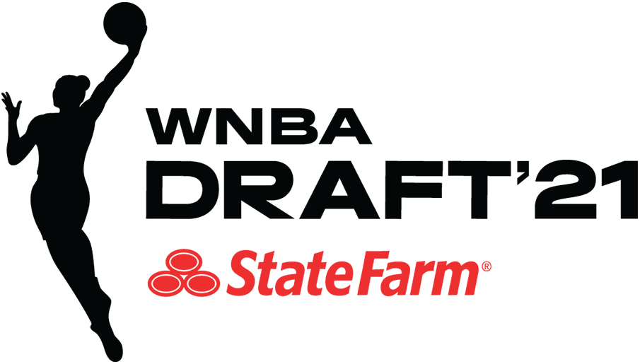WNBA Draft Logo Primary Logo (2021) - The 2021 WNBA Draft logo follows the template in use by the WNBA since 2019, which places the WNBA league logo silhouette in black to the left of WNBA DRAFT '21 to the right, also in black. SportsLogos.Net