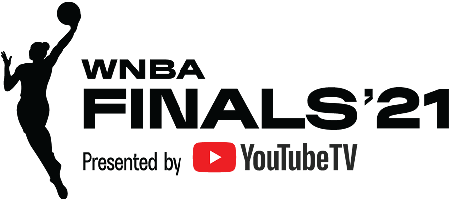 WNBA Finals Logo Primary Logo (2021) - The 2021 WNBA Finals logo follows the template in use by the WNBA since 2019, which places the WNBA league logo silhouette in black to the left of WNBA FINALS '21 to the right, also in black. SportsLogos.Net