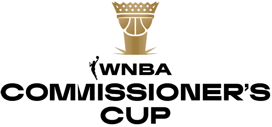 WNBA Commissioners Cup Logo Primary Logo (2021-Pres) - The WNBA Commissioner's Cup logo depicts the trophy itself in gold, which is a crown shaped like a basketball net placed above a basketball on a trophy base, the base of the trophy is shown breaking into the ground to represent the groundbreaking nature of this tournament. The name of the event is below in black. SportsLogos.Net