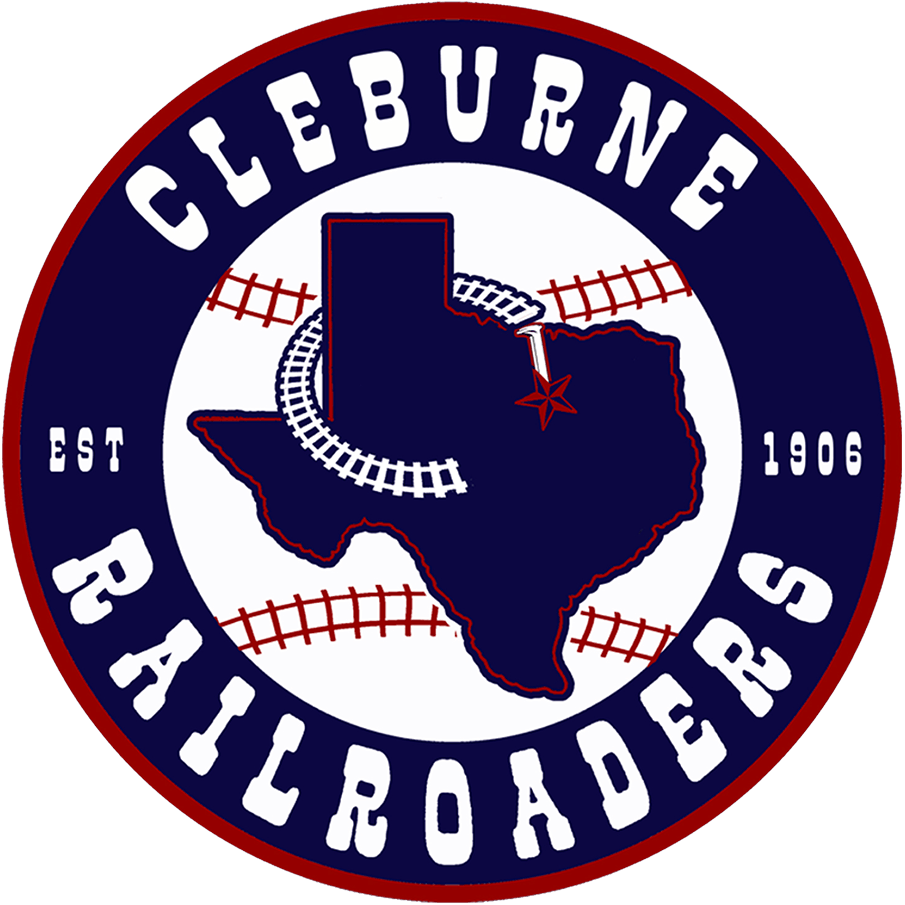 Cleburne Railroaders Logo Primary Logo (2021-Pres) - The Cleburne Railroaders logo shows a state map of Texas in blue with a rail spike and a red star noting the location of Cleburne, around the map is a railroad track in the shape of a C. The design is placed on a baseball with red railroad track stitching and inside a navy blue and red circle with CLEBURNE RAILROADERS EST 1906 in white around it. SportsLogos.Net
