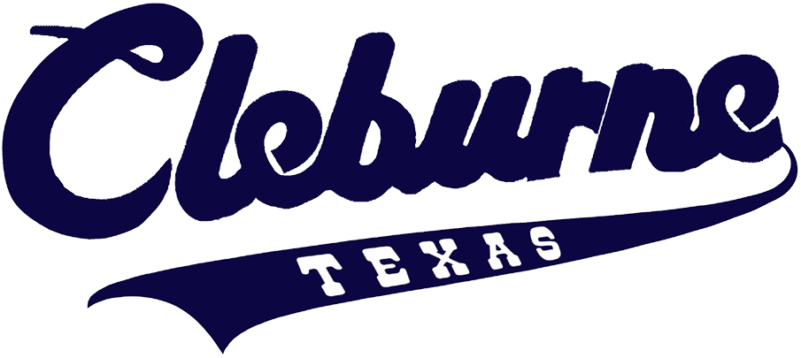 Cleburne Railroaders Logo Wordmark Logo (2021-Pres) - This Cleburne Railroaders wordmark logo shows the name of the town Cleburne in blue scripted letters, a blue tail falls below containing the word TEXAS in white SportsLogos.Net