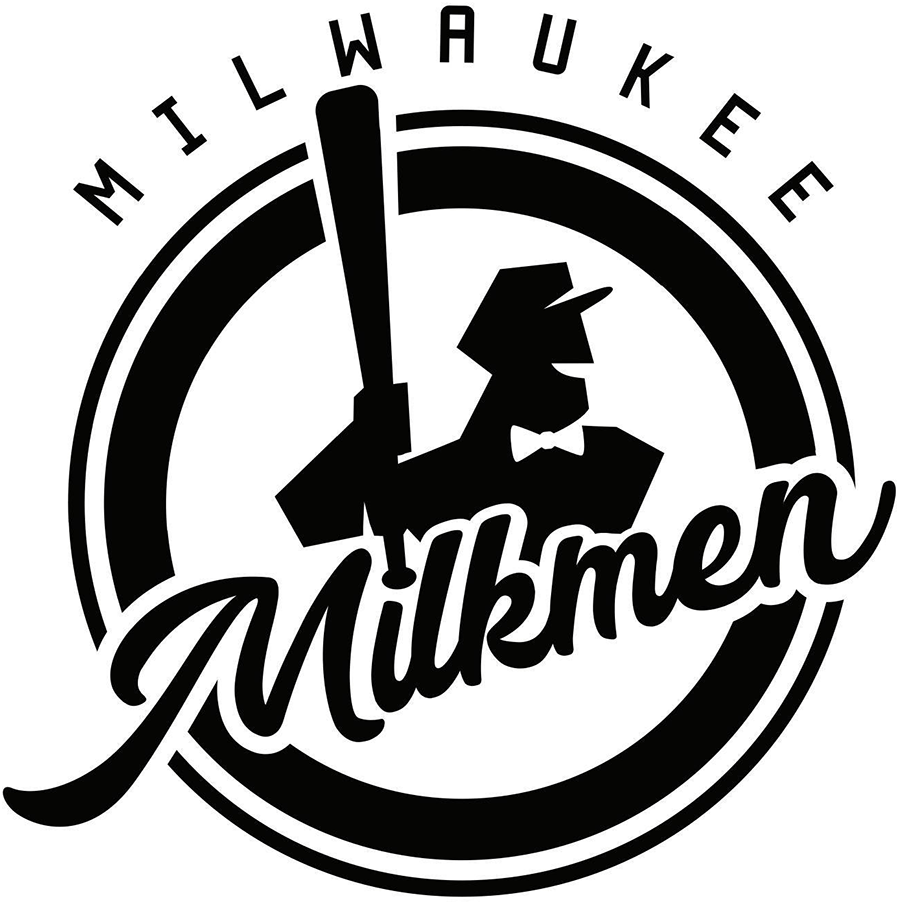 Milwaukee Milkmen Logo Primary Logo (2019-Pres) - The Milwaukee Milkmen logo shows a black and white silhouette of a 1950s style milkman wearing a bowtie and holding a baseball bat, Milkmen is scripted across the front in black and the entire logo is placed within a black and white circle, MILWAUKEE is arched above. SportsLogos.Net