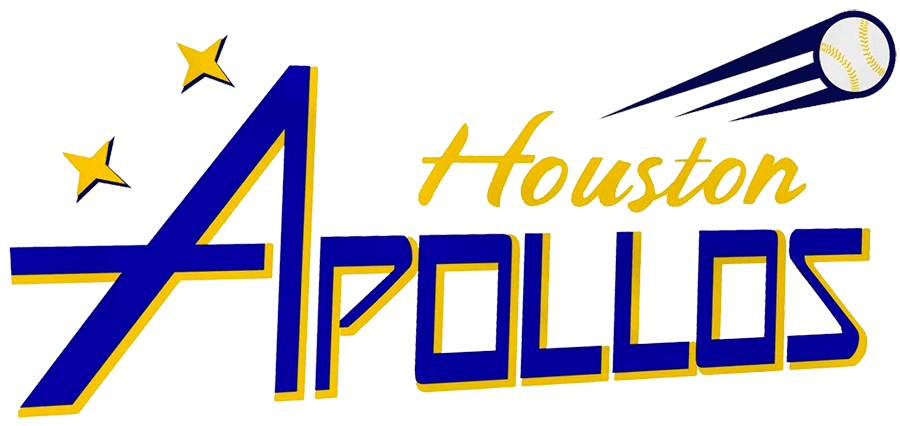 Houston Apollos Logo Alternate Logo (2021-Pres) - The Houston Apollos alternate logo features the word APOLLOS in blue with yellow drop shadow, Houston scripted above in yellow, two yellow stars to the upper left and a baseball flying away like a comet in the upper right SportsLogos.Net