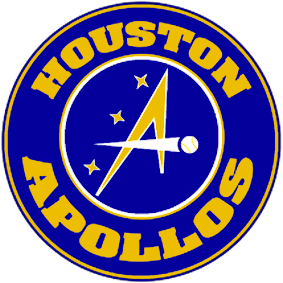 Houston Apollos Logo Primary Logo (2021-Pres) - The Houston Apollos, an American Association travel team operated by the Pecos League, used this logo showing a yellow A formed with a space shuttle and a baseball on a blue circle with three stars to its left, HOUSTON APOLLOS arched around in yellow to complete the roundel look. SportsLogos.Net