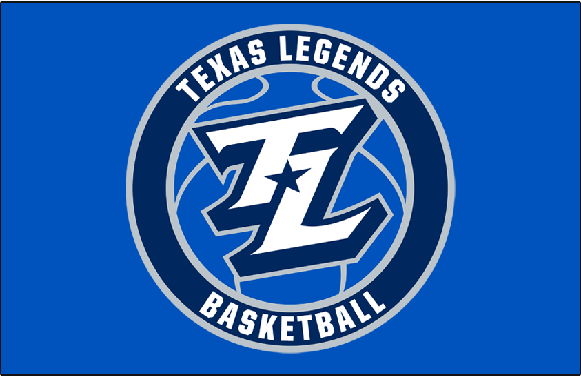 Texas Legends Logo Primary Dark Logo (2018/19-Pres) - A TL in white with a navy blue star between it on a royal blue basketball in a roundel on royal blue SportsLogos.Net