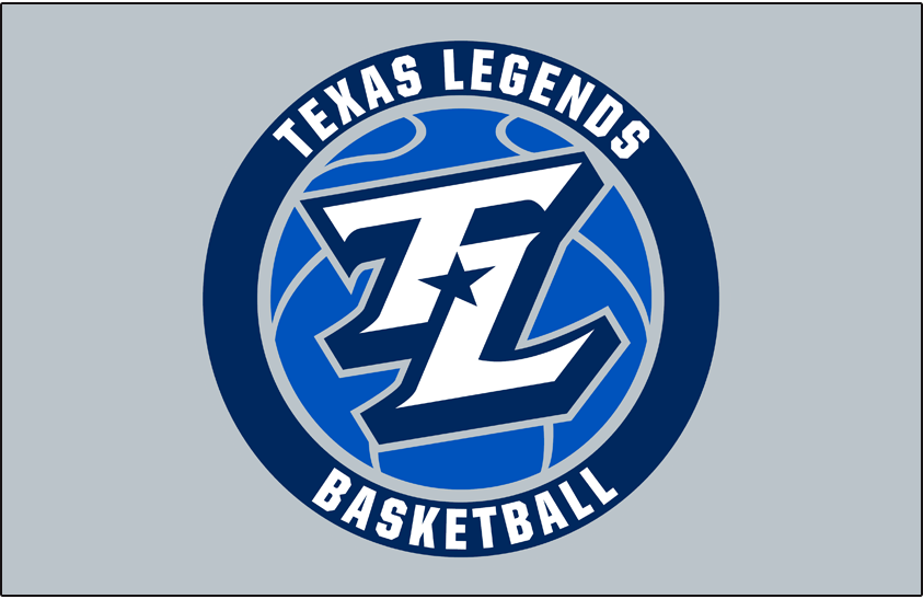 Texas Legends Logo Primary Dark Logo (2018/19-Pres) - A TL in white with a navy blue star between it on a royal blue basketball in a roundel on silver SportsLogos.Net