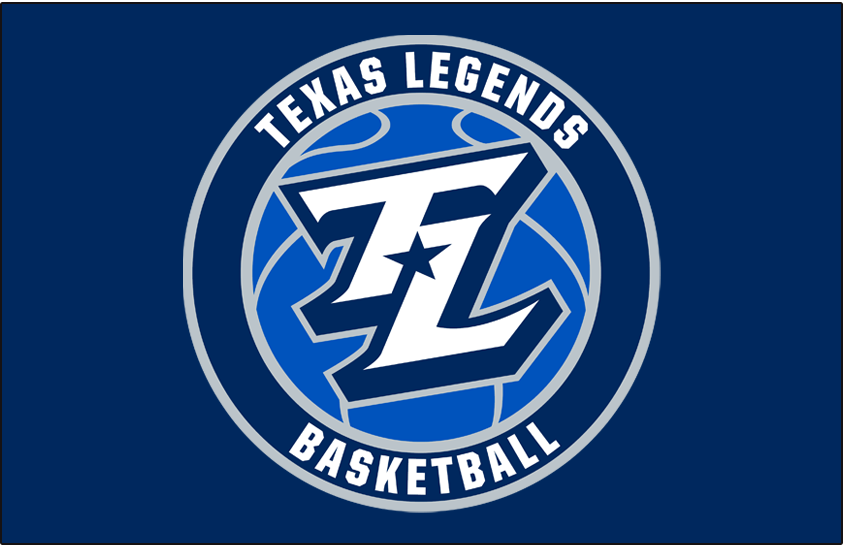 Texas Legends Logo Primary Dark Logo (2018/19-Pres) - A TL in white with a navy blue star between it on a royal blue basketball in a roundel on navy blue SportsLogos.Net