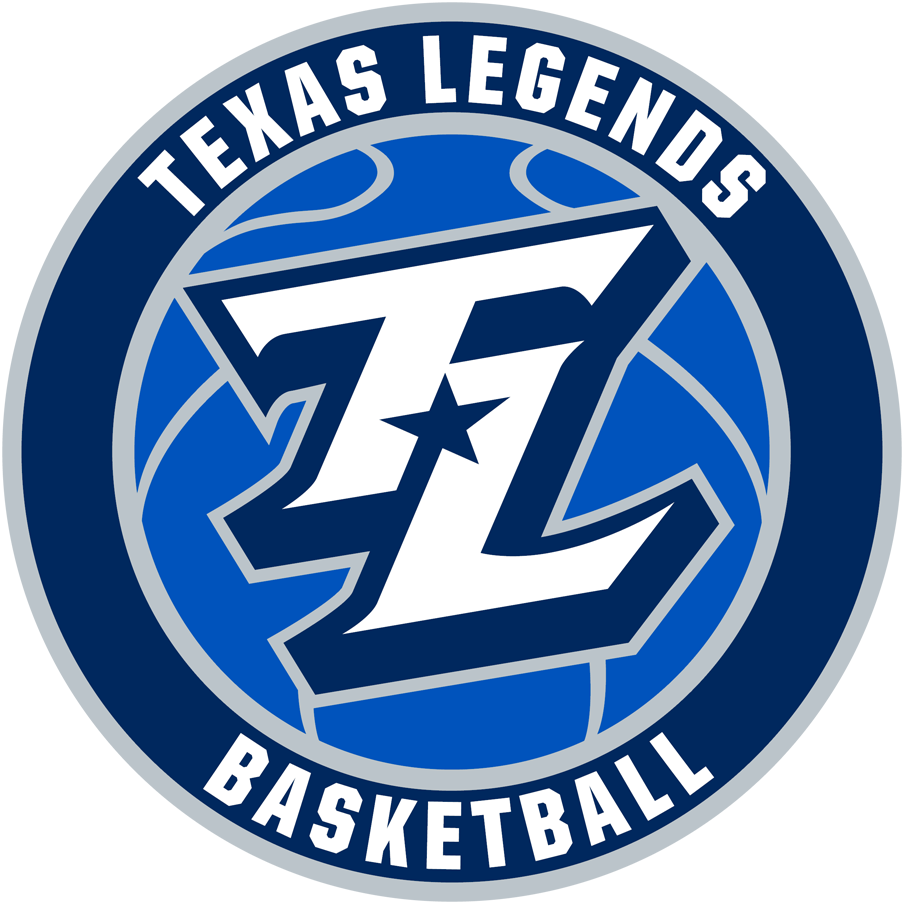 Texas Legends Logo Primary Logo (2018/19-Pres) - A TL in white with a navy blue star between it on a royal blue basketball in a roundel SportsLogos.Net