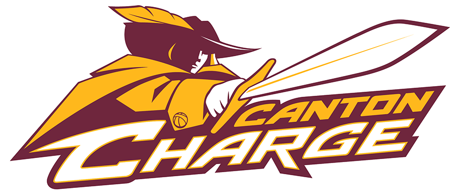 Canton Charge Logo Primary Logo (2010/11-Pres) - The Canton Charge logo consists of a wine and gold cavalier wearing a feathered hat holding a sword ready to charge above the team name written in gold and white on a wine background. SportsLogos.Net
