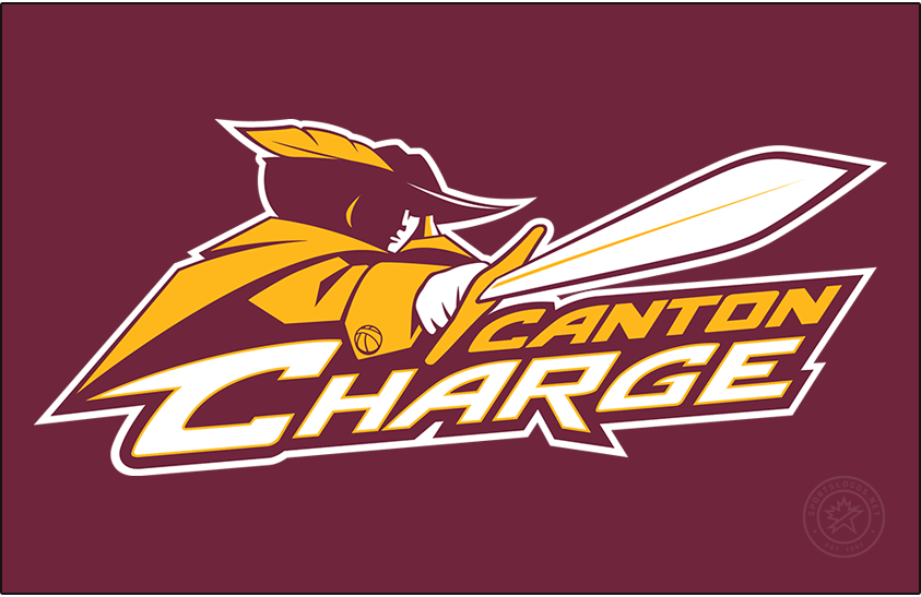 Canton Charge Logo Primary Dark Logo (2010/11-Pres) - The Canton Charge logo consists of a wine and gold cavalier wearing a feathered hat holding a sword ready to charge above the team name written in gold and white on a wine background. SportsLogos.Net