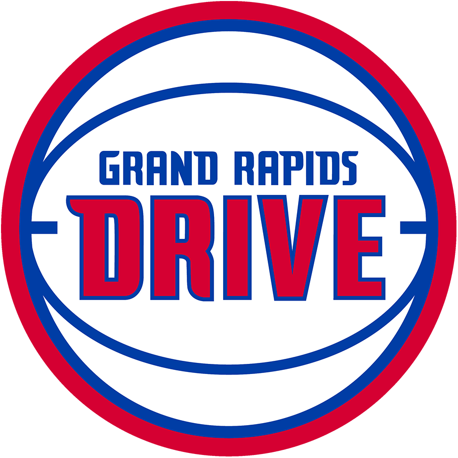 Grand Rapids Drive Logo Primary Logo (2014/15-2017/18) - The Grand Rapids Drive logo was very similar to their NBA affiliate the Detroit Pistons. A blue and white basketball trimmed in red with the team name DRIVE across the front in red and blue and GRAND RAPIDS above in blue. The Drive darkened their colours slightly following the 2017-18 season. SportsLogos.Net