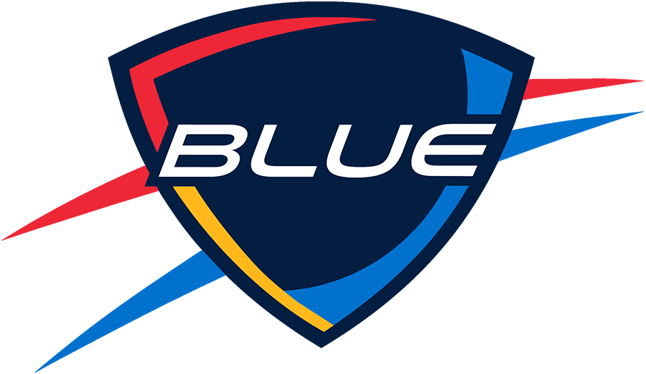 Oklahoma City Blue Logo Alternate Logo (2014/15-2015/16) - The Oklahoma City Blue logo is designed to closely resemble that of their NBA affiliate the Oklahoma City Thunder. It features the team name in white italics on a navy blue shield, within the shield is a light blue basketball with red-orange and yellow shading. Outside the shield are red-orange and light blue streaks. The Blue dimmed the shade of red-orange used on this logo following the 2015-16 season. SportsLogos.Net