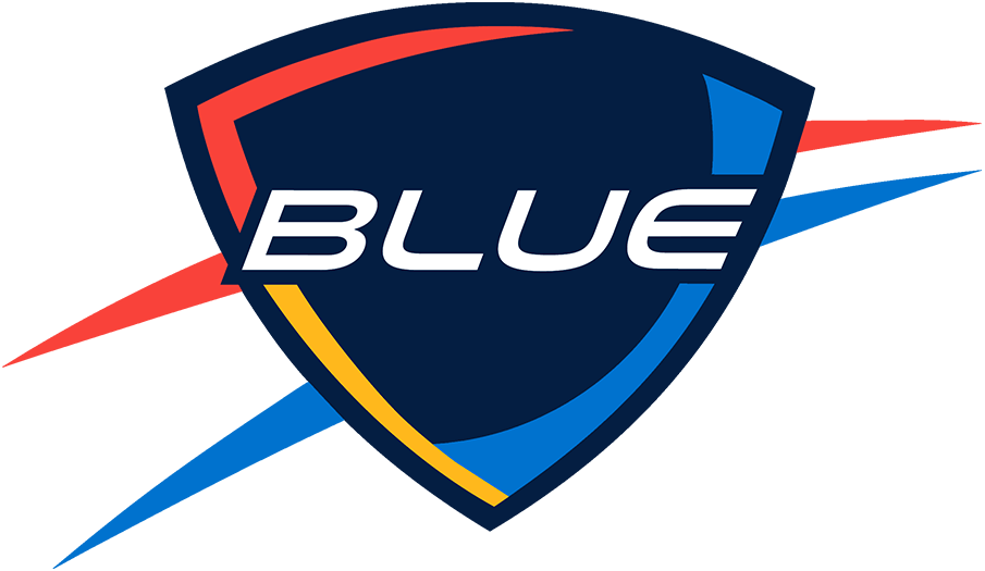 Oklahoma City Blue Logo Alternate Logo (2016/17-Pres) - The Oklahoma City Blue logo is designed to closely resemble that of their NBA affiliate the Oklahoma City Thunder. It features the team name in white italics on a navy blue shield, within the shield is a light blue basketball with sunset red and yellow shading. Outside the shield are sunset red and light blue streaks. The Blue dimmed the shade of red used on this logo in time for the 2016-17 season. SportsLogos.Net