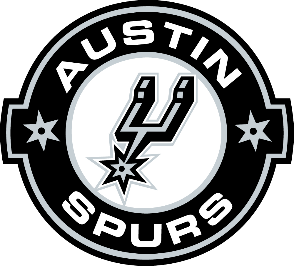 Austin  Spurs Logo Primary Logo (2014/15-Pres) - A western-style beltbuckle with a boot spur (from San Antonio Spurs logo) in the middle, team name around SportsLogos.Net