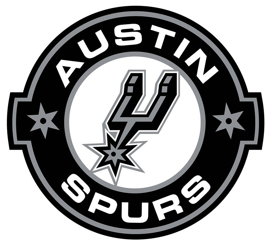 Austin Spurs Logo Primary Logo (2014/15-2017/18) - In 2014-15 the Austin Toros changed their name to Spurs to better match their NBA partner in San Antonio. Their logo, much like the NBA Spurs, featured a black and silver spur inside a black and silver circle with the team name written around it. Following the 2017-18 season the Austin Spurs changed the typeface used in this logo. SportsLogos.Net