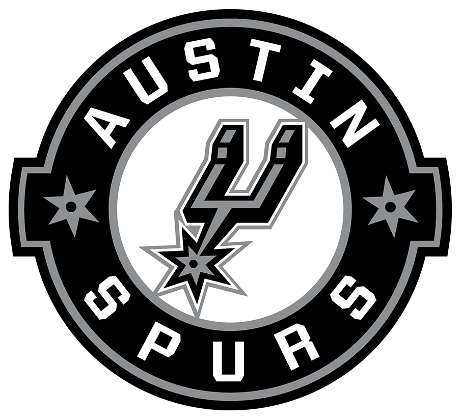 Austin Spurs Logo Primary Logo (2018/19-Pres) - For the 2018-19 season the Austin Spurs altered the typeface used in their logo slightly switching to a more serif-style font. The remainder of the design, a black and silver spur inside a black circle, remained the same as their original 2014-15 design. SportsLogos.Net