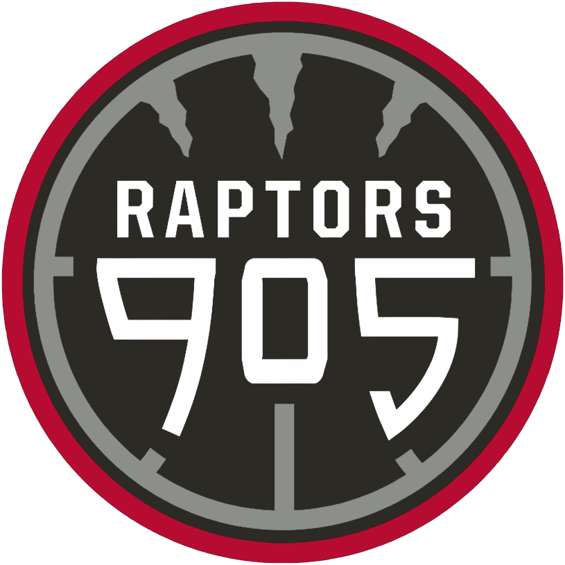 Raptors 905 Logo Primary Logo (2015/16-Pres) - RAPTORS 905 in white on a black basketball with silver seams, the top three seems mimicking the look of claw marks. Ball is outlined in silver, black, and red. SportsLogos.Net
