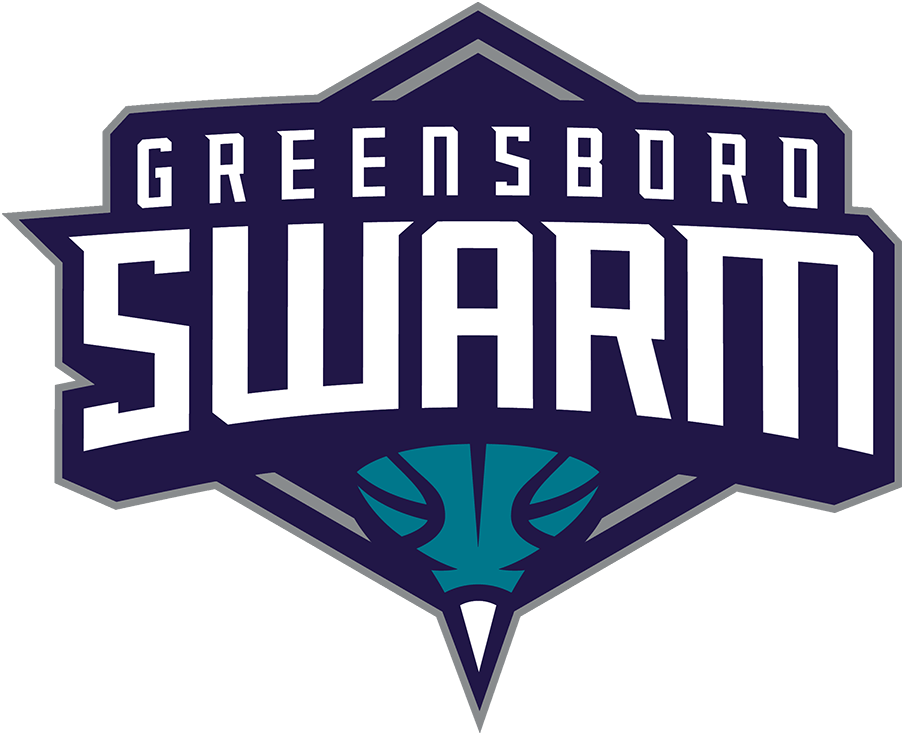Greensboro Swarm Logo Primary Logo (2016/17-Pres) - The Greensboro Swarm logo shows a basketball doubling as the end of a hornet with a white stinger at the bottom, this is placed below the team name in white on a dark purple and silver diamond. SportsLogos.Net