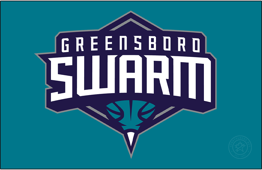 Greensboro Swarm Logo Primary Dark Logo (2016/17-Pres) - The Greensboro Swarm logo shows a basketball doubling as the end of a hornet with a white stinger at the bottom, this is placed below the team name in white on a dark purple and silver diamond. SportsLogos.Net