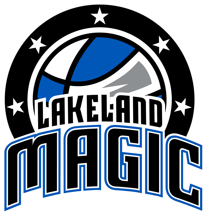 Lakeland Magic Logo Primary Logo (2017/18-Pres) - The Lakeland Magic primary logo features a blue and white basketball with black seams and grey highlighting, across the bottom of the ball is the team name arched in black with white and blue trim. Around the basketball is a black circle with five white stars. SportsLogos.Net