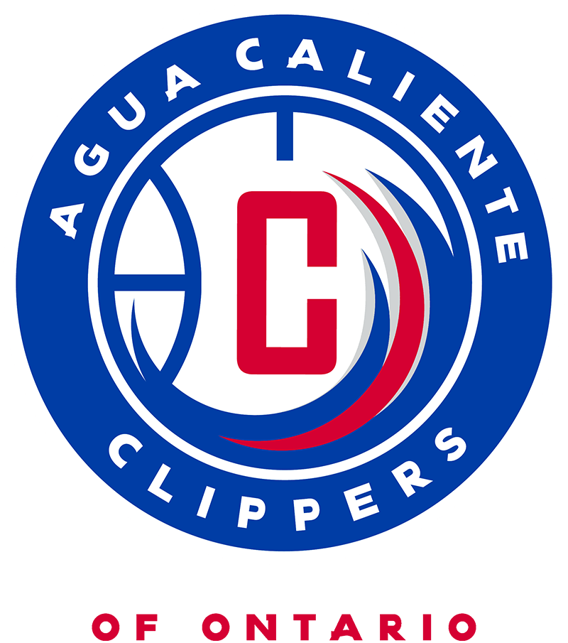 Agua Caliente Clippers of Ontario Logo Primary Logo (2017/18) - The Agua Caliente Clippers primary logo consists of a red C on a blue and white basketball with red, blue, and silver waves up the side. This design is placed inside a blue and white circle with the team name in white. The team darkened their colours following the 2017-18 season. SportsLogos.Net