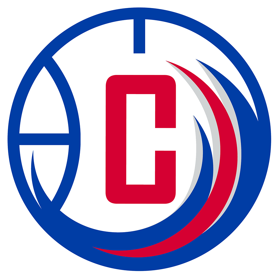 Agua Caliente Clippers of Ontario Logo Alternate Logo (2017/18) - The Agua Caliente Clippers alternate logo consists of a red C on a blue and white basketball with red, blue, and silver waves up the side. This design is placed inside a blue and white circle with the team name in white. The team darkened their colours following the 2017-18 season. SportsLogos.Net
