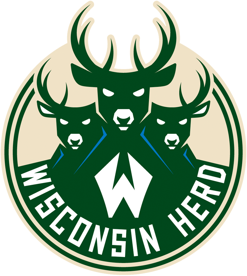 Wisconsin Herd Logo Primary Logo (2017/18-Pres) - Three buck heads inside a cream, green, and blue circle. White W and team name below. SportsLogos.Net