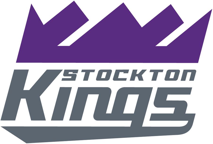 Stockton Kings Logo Primary Logo (2018/19-Pres) - Purple crown over team name slanted in silver SportsLogos.Net