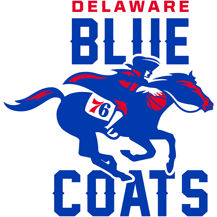 Delaware Blue Coats Logo Primary Logo (2018/19-2019/20) - A bluecoat in era appropriate clothing dribbling a basketball while riding a horse SportsLogos.Net