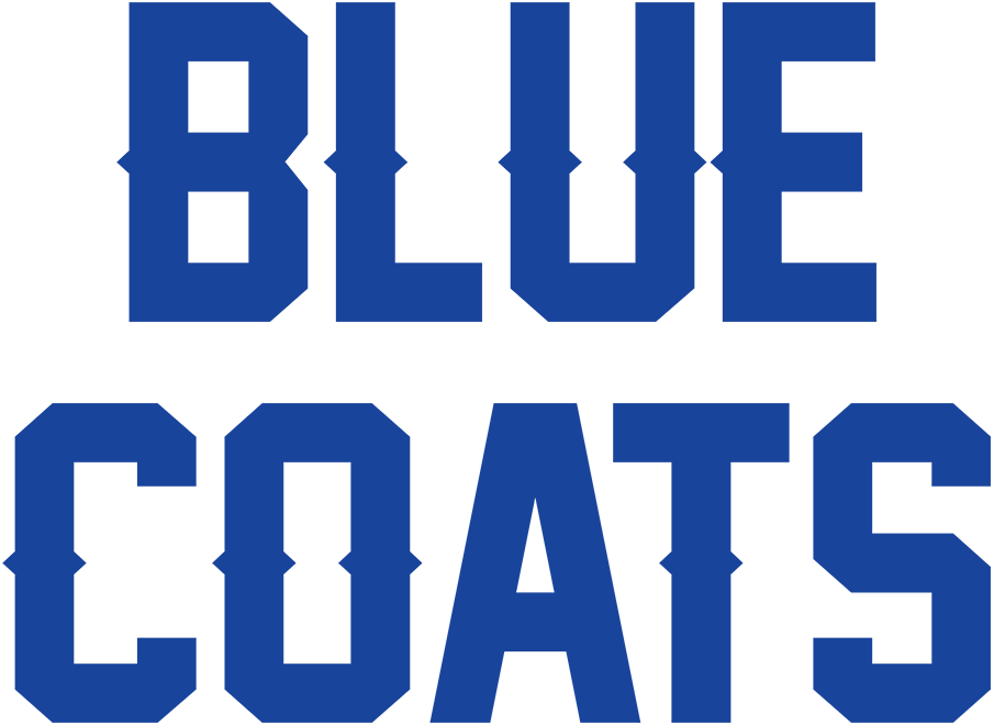 Delaware Blue Coats Logo Primary Logo (2020/21-Pres) - For the 2020-21 G-League season, the Delaware Blue Coats dropped their previous primary logo of a blue coat riding a horse and replaced it with simply their wordmark logo - BLUE COATS in stacked blue uppercase lettering. SportsLogos.Net