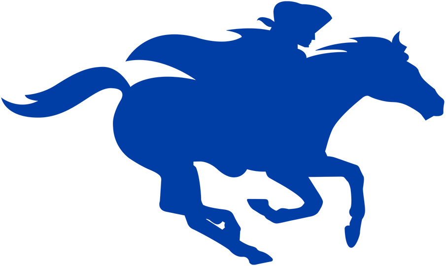 Delaware Blue Coats Logo Alternate Logo (2018/19-2019/20) - Followering their name change from the 87ers, the Delaware Blue Coats adopted a logo set featuring a revolutionary-era solider wearing a blue coat, riding a blue horse, and dribbling a basketball. Their alternate logo, shown here, is a simple blue silhouette of that primary logo. SportsLogos.Net