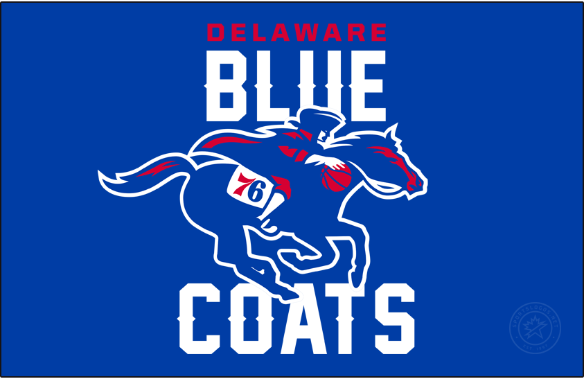 Delaware Blue Coats Logo Primary Dark Logo (2018/19-2019/20) - Followering their name change from the 87ers, the Delaware Blue Coats adopted a logo featuring a revolutionary-era solider wearing a blue coat, riding a blue horse, and dribbling a basketball. The logo for their parent club 76ers appears on the side of the horse amended to show just the 76. The team name appears above and blue in red and blue. SportsLogos.Net