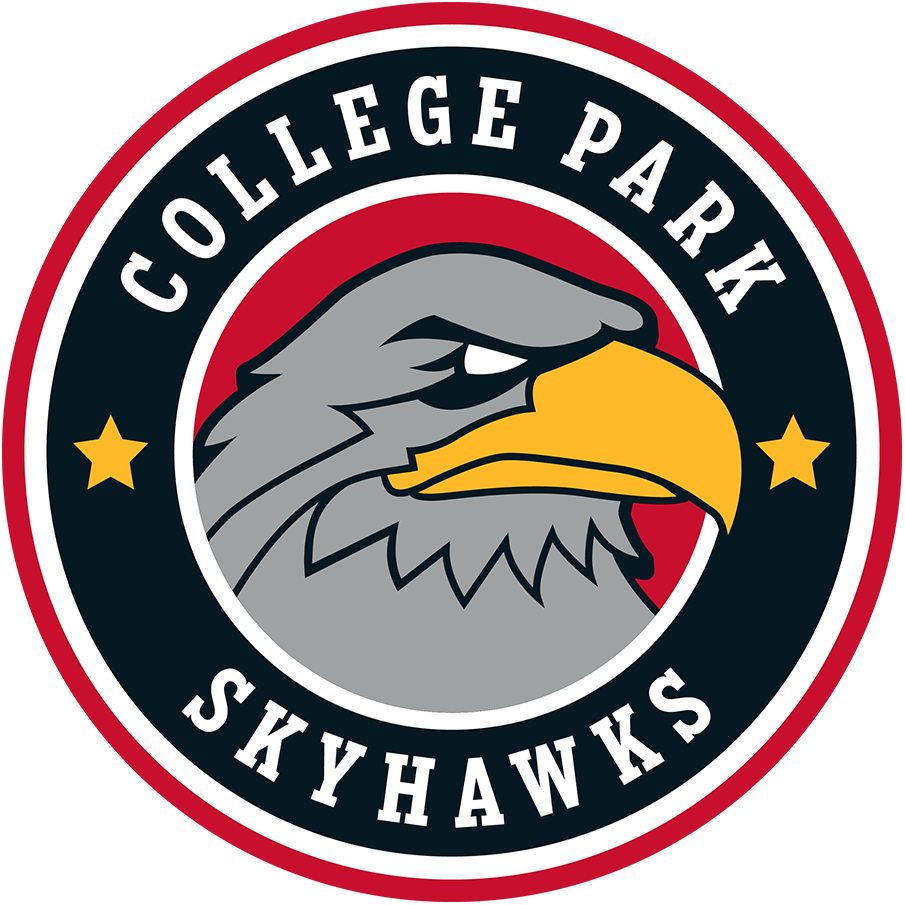College Park Skyhawks Logo Primary Logo (2019/20-Pres) - A silver hawk inside a red and black circle, team name and stars surrounding it SportsLogos.Net