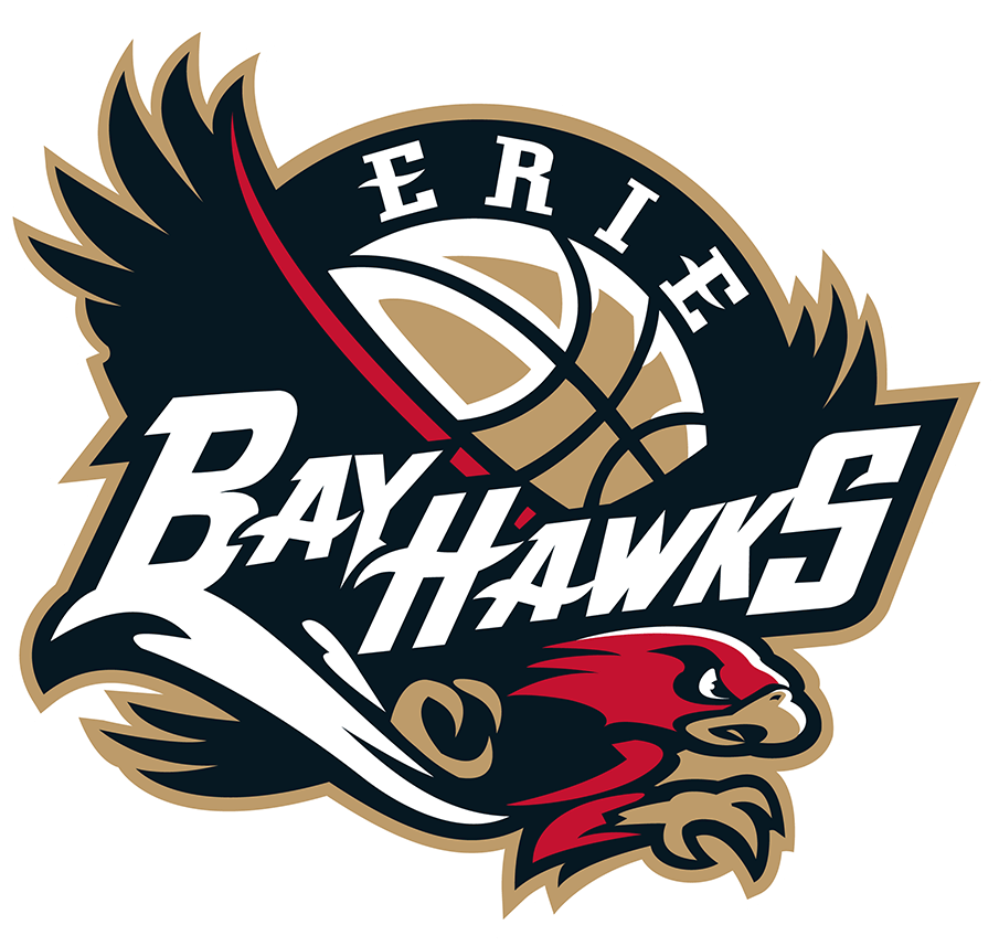 Erie BayHawks Logo Primary Logo (2019/20-Pres) - A black and red hawk below a basketball with team script in white SportsLogos.Net