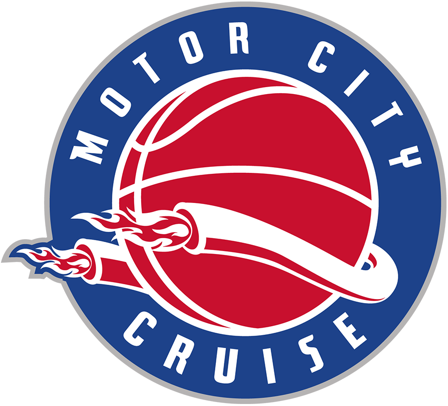 Motor City Cruise Logo Primary Logo (2021/22-Pres) - The Motor City Cruise joined the NBA G-League for the 2021-22 season, their logo featured twin tailpipes on either side of a red basketball with flames shooting out, a blue circle surrounded the logo with MOTOR CITY CRUISE in white within it and a silver outline SportsLogos.Net