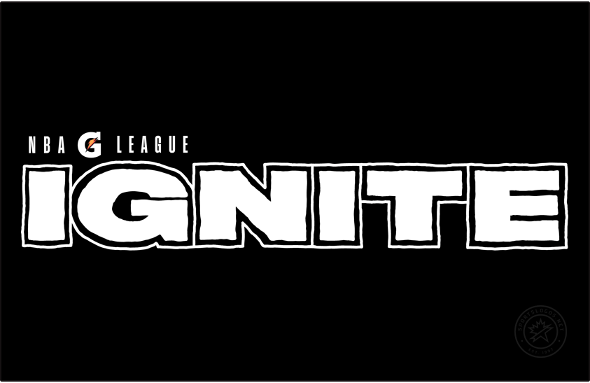 NBA G-League Ignite Logo Primary Dark Logo (2020/21) - Originally conceived as a exhibition-only team in 2020, G-League Ignite joined the league for the 2020-21 regular season after several teams suspended play for the season due to COVID-19. Their logo shows the word IGNITE in bold, black letters with NBA G League above in black. Shown here on black with the colour of the lettering reversed. SportsLogos.Net