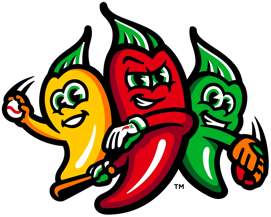 Tri-City Chili Peppers Logo Alternate Logo (2020-Pres) - Three peppers, one yellow, one green, one red playing baseball SportsLogos.Net