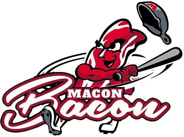 Macon Bacon Logo Primary Logo (2018-Pres) - A strip of bacon wearing a frying pan helmet swinging a baseball bat SportsLogos.Net