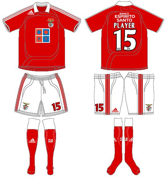 S.L. Benfica Uniform Home Uniform (2007-2008) -  SportsLogos.Net