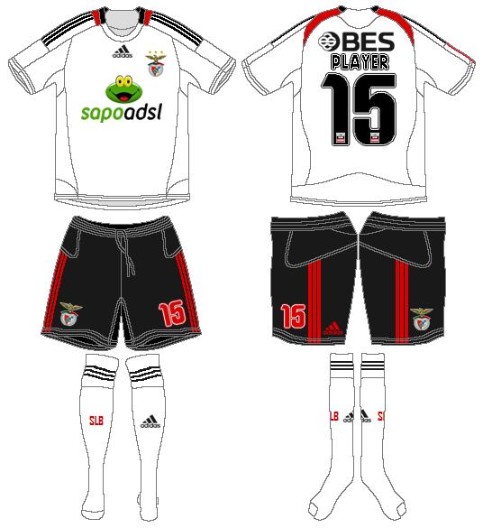 S.L. Benfica Uniform Road Uniform (2008-2009) -  SportsLogos.Net