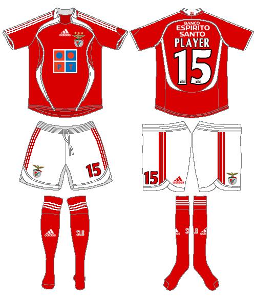 S.L. Benfica Uniform Home Uniform (2006-2007) -  SportsLogos.Net