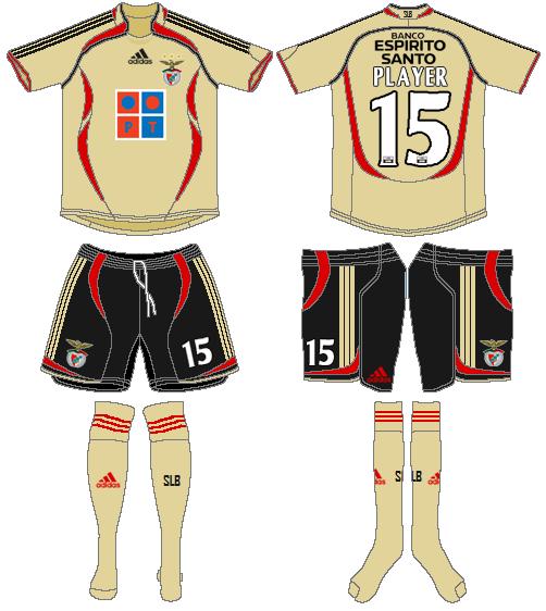 S.L. Benfica Uniform Road Uniform (2006-2007) -  SportsLogos.Net