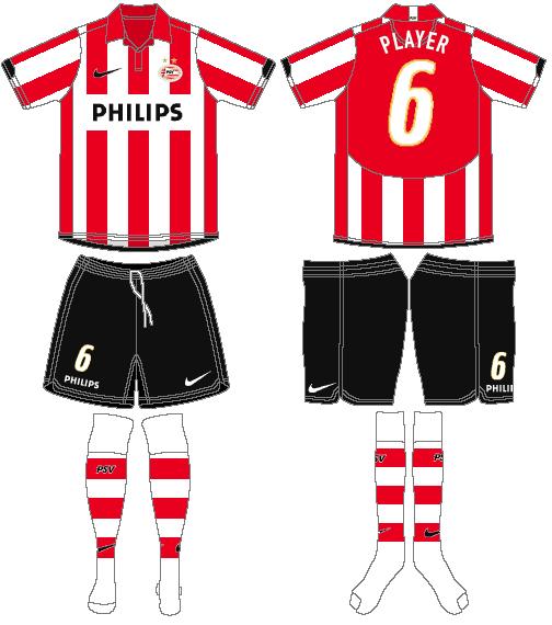 PSV Eindhoven Uniform Home Uniform (2006-2008) -  SportsLogos.Net