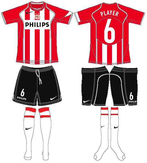 PSV Eindhoven Uniform Home Uniform (2004-2005) -  SportsLogos.Net