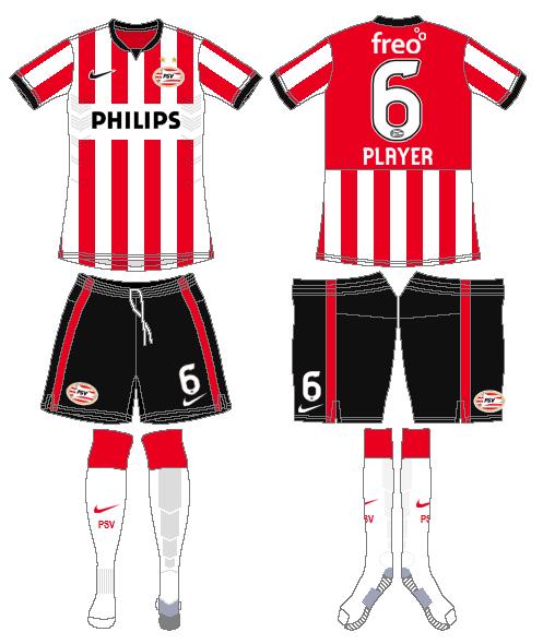PSV Eindhoven Uniform Home Uniform (2014-2015) -  SportsLogos.Net