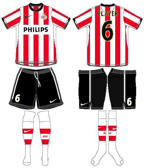 PSV Eindhoven Uniform Home Uniform (2010-2011) -  SportsLogos.Net