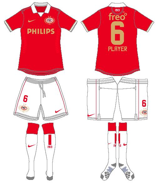PSV Eindhoven Uniform Home Uniform (2013-2014) -  SportsLogos.Net