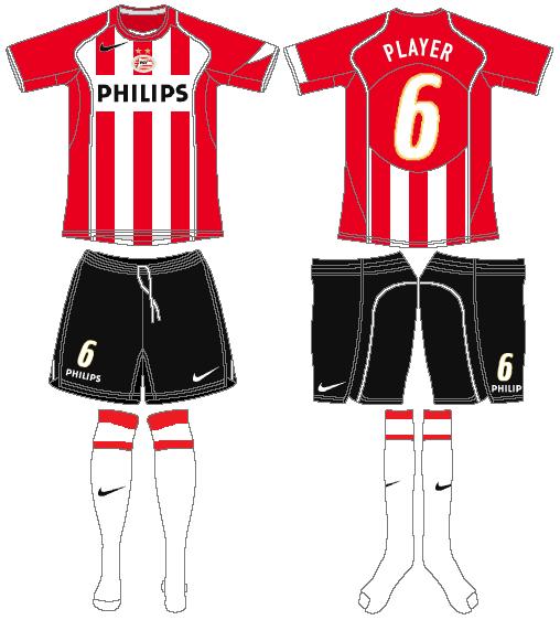 PSV Eindhoven Uniform Home Uniform (2005-2006) -  SportsLogos.Net